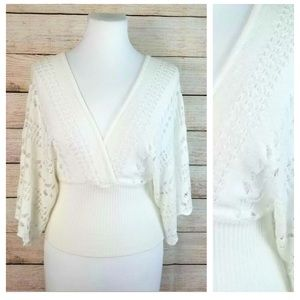 ⭐️HOST PICK⭐️White Kimono Sleeve Crocheted Top